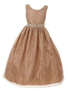 Huncho Big Girls Champagne Lace Rhinestone Bead Junior Bridesmaid Dress 8-14