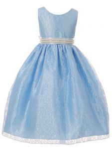 Huncho Big Girls Light Blue Lace Rhinestone Ribbon Junior Bridesmaid Dress 8-14
