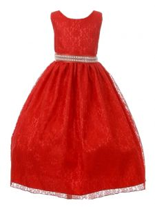 Huncho Big Girls Red Lace Rhinestone Bead Junior Bridesmaid Dress 8-14