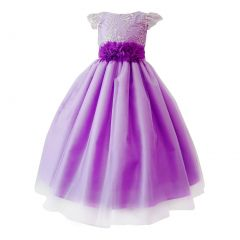 Big Girls Purple Glitter Embroidered Floral Belt Junior Bridesmaid Dress 8