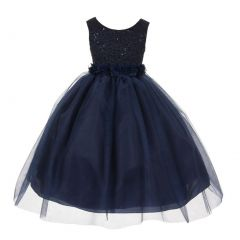 Big Girls Navy Chiffon Floral Adorned Sequin Lace Junior Bridesmaid Dress 8-12
