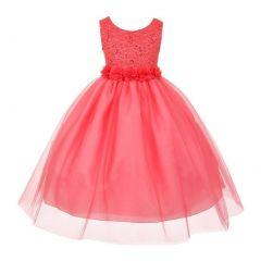 Little Girls Coral Chiffon Floral Adorned Sequin Lace Flower Girl Dress 2T