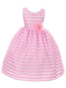 Huncho Big Girls Pink Organza Shimmery Stripe Junior Bridesmaid Dress 8-14