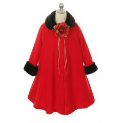 Kids Dream Red Fleece Faux Collar Cuff Stylish Coat Girls  2T