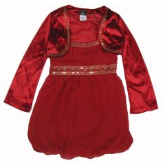 Disney Little Girls Red Hannah Montana Sequin Adornment Vest Festive Dress 4-6X