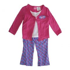 Barbie Little Girls Pink Floral Button Top Patterned 2 Pc Legging Set 2-4T