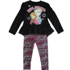 "Disney Little Girls Black Frozen Elsa Anna ""Girl Power"" 2 Pc Legging Set 2-4T"