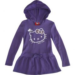 Sanrio Little Girls Purple Hello Kitty Heart Long Sleeve Hooded Dress 4-6X