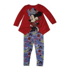 "Disney Little Girls Red Purple Minnie ""Little Rebel"" Print 2 Pc Pant Set 2-4T"