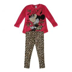 Disney Little Girls Pink Tan Minnie Bow Leopard Print 2 Pc Pant Set 4-6X