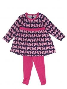 Little Me Little Girls Pink Butterfly Print Long Sleeve Set 3T