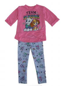 Nickelodeon Little Girls Pink Blue Paw Patrol Print 2 Pc Legging Outfit 2-4T