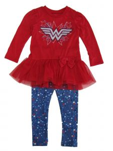 DC Comics Little Girls Red Wonder Woman Long Sleeve Outfit Set 2T-4T