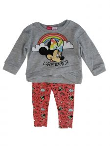 Disney Little Girls Grey Minnie Mouse Long Sleeve Sweater Outfit 2T-4T