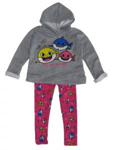 Nickelodeon Little Girls Grey Pink Baby Shark Hoodie Leggings Set 2-4T