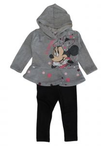 Disney Little Girls Grey Black Minnie Mouse Dots Hoodie Leggings Set 2-4T