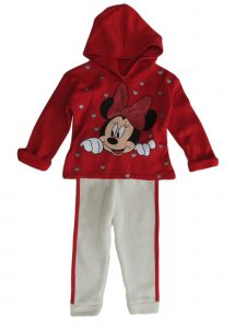 Disney Little Girls Red Minnie Mouse Fleece Hoodie Jogger Pants Outfit 2-4T