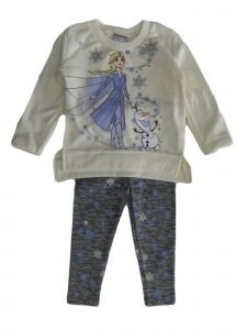 Disney Little Girls White Frozen Elsa Olaf Fleece Top Leggings Outfit 2-4T
