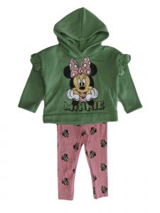 Disney Little Girls Olive Minnie Mouse Fleece Hoodie Leggings Outfit 2-4T