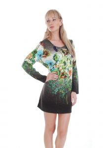 Cathaya Women's Gray Green Floral Print Round Neckline Sweater Dress S-XL