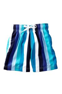 Azul Boys Purple Blue Line Up Stripe Pattern Swimwear Trunks 4-14