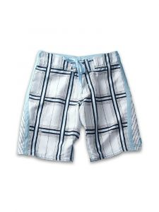 Azul Big Boys White Blue Square 1 Print Drawstring Tie Board Shorts 14-16