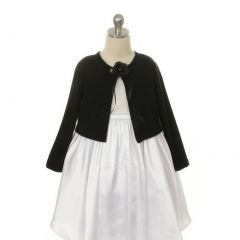 Kids Dream Black Flower Special Occasion Cardigan Sweater Girls 12