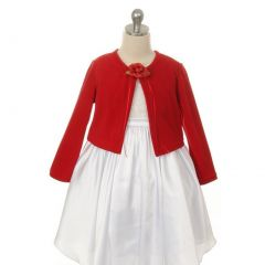 Kids Dream Red Flower Special Occasion Cardigan Sweater Girls 4-12