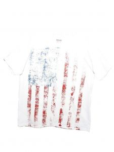 Unisex Big Kids White American Flag Print T-Shirt 6-16