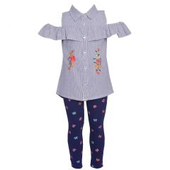 Real Love Baby Girls Navy Floral Cold-Shoulder 2 Pc Legging Outfit 12-24M
