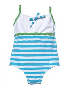 Azul Baby Girls Turquoise Marthas Vineyard Striped 1 Pc Swimsuit 18-24M