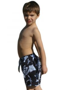 Azul Little Boys Navy Sea Creatures Print Drawstring Tie Swim Shorts 2T-4