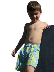 Azul Little Boys Light Blue Sea Creatures Print Drawstring Tie Swim Shorts 4