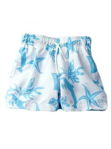 Azul Big Boys White Sea Creatures Print Drawstring Tie Swim Shorts 10