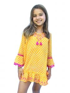 Azul Little Girls Orange Sun Down Embroidered Pom-Pom Tassel Tunic 4-7