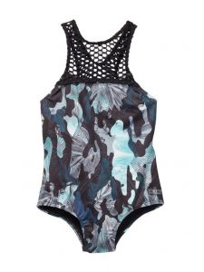 Azul Little Girls Green Black G. I. Jane One Piece Swimsuit 4-6