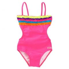 Azul Little Girls Fuchsia Multi Trims Chasing Rainbows Monokini Swimsuit 4-5