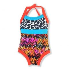 Azul Little Girls Red Turquoise Out Of Africa Halter One Piece Swimsuit 2-6
