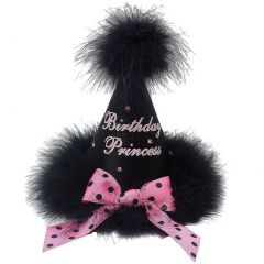"Girls Black Pink Feathery Dotted Bow ""Birthday Princess"" Cone Party Hat"