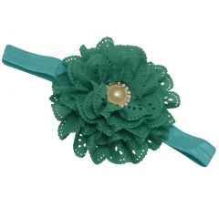 Girls Teal Laser Cut Detail Pearl Rhinestone Adorned Flowery Hairband