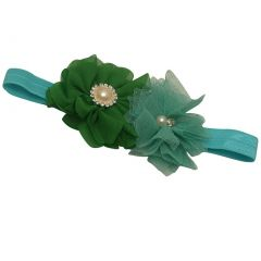Girls Green Teal Glitter Pearl Rhinestone Adorned Flowery Stretch Hairband