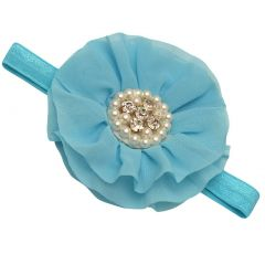 Girls Turquoise Glitter Pearl Glitter Accent Center Flowery Stretch Hairband