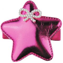 Reflectionz Girls Pink Glossy Star Beaded Ribbon Accent Hair Clippie
