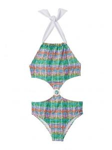 Azul Big Girls Multi Ripple Effect Monokini One Piece Monokini Swimsuit 7-16