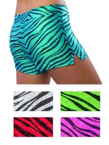 Pizzazz Women Multi Color Zebra Glitter Sports Shorts Adult S-2XL