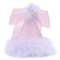 Girls Purple Fluffy Feather Ribbon Accented Birthday Cone Party Hat