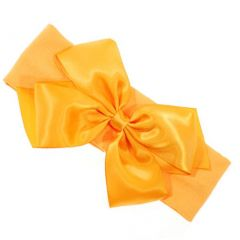 Girls Orange Bow Accent Stretchy Stylish Headband Accessory One Size