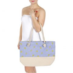 "Girls Blue Yellow Banana Print Shoulder Strap Roomy Bag (19 X 6 X 14"")"