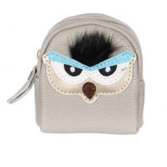 T.P.O Girls Gray Owl Face Design Coin Purse 2.36 in x 3.35 in x 1.26 in