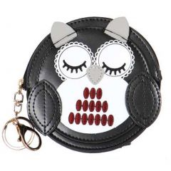 T.P.O Girls Black Owl Design Round Shape Coin Purse 4 3/4 in x 4 3/4 in